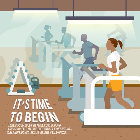 Ilustración de People training on treadmills in gymnasium fitness lifestyle time to begin poster vector illustration - Imagen libre de derechos