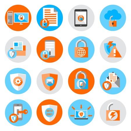 Illustration pour Business data protection technology and cloud network security icons set flat vector illustration - image libre de droit