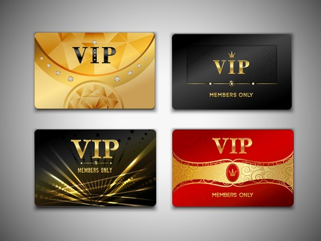 Illustration pour Small vip red black and golden premium platinum cards set isolated vector illustration - image libre de droit