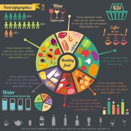 Illustration pour Healthy food concept infographic with pie chart and icons vector illustration - image libre de droit