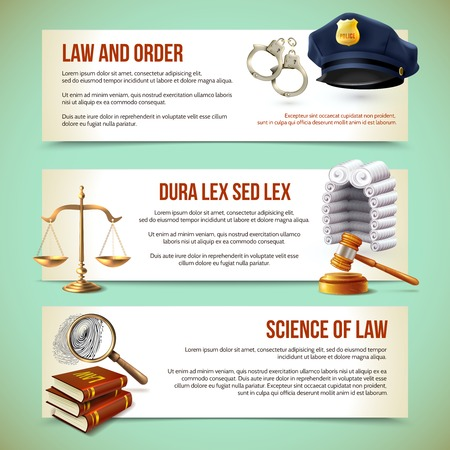 Illustration pour Law and justice police criminal and prosecution horizontal banners vector illustration - image libre de droit