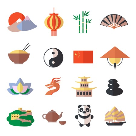 Ilustración de China travel asian traditional culture symbols icons set isolated vector illustration - Imagen libre de derechos