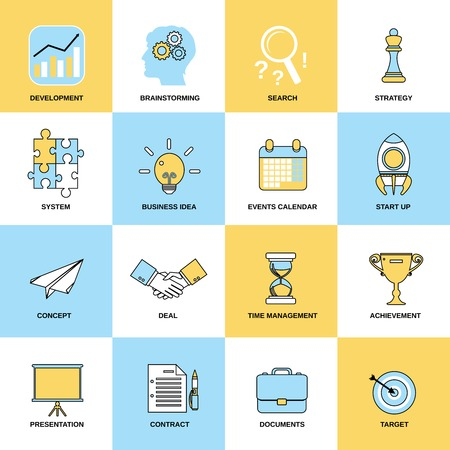 Illustration for Business icons flat line set of development brainstorming search isolated vector illustration - Royalty Free Image