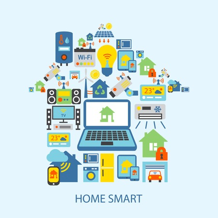 Ilustración de Smart home automation technology decorative icons set vector illustration - Imagen libre de derechos
