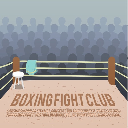Box fight club background with ring and audience vector illustration