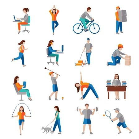Foto de Physical activity healthy lifestyle icons set isolated vector illustration. - Imagen libre de derechos
