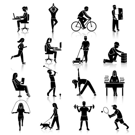 Illustration pour Physical activity black icons set with people cycling reading training isolated vector illustration - image libre de droit