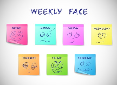 Illustration pour Weekly calendar colored peeling stickers with faces characters isolated vector illustration - image libre de droit
