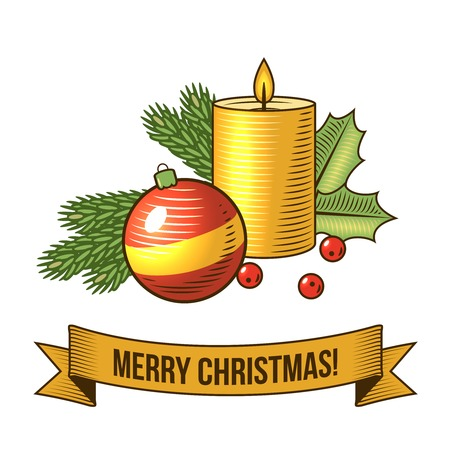 Illustration for Christmas new year holiday decoration candle and ball icon with ribbon vector illustration - Royalty Free Image