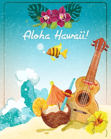 Illustration pour Hawaii guitar tropical beach vacation advertisement poster with coconut refreshment colada drink sketch color abstract vector illustration - image libre de droit