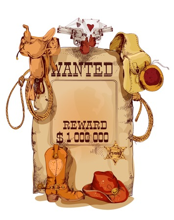 Illustration pour Old fashion wild west wanted reward vintage poster with horse saddle revolver cowboy backpack sketch abstract vector illustration - image libre de droit