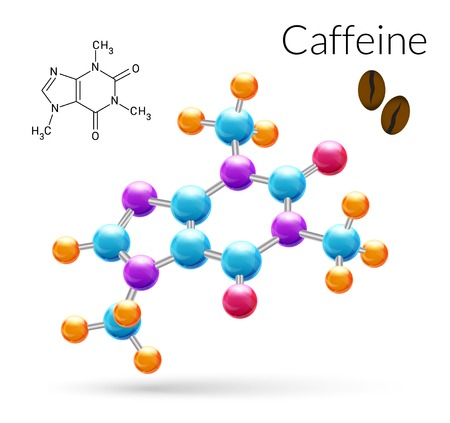 Illustration pour Caffeine 3d molecule chemical science atomic structure poster vector illustration - image libre de droit