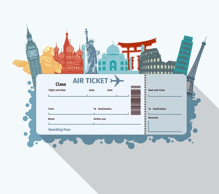 Illustration pour Airplane travel ticket with world famous landmarks icons vector illustration - image libre de droit