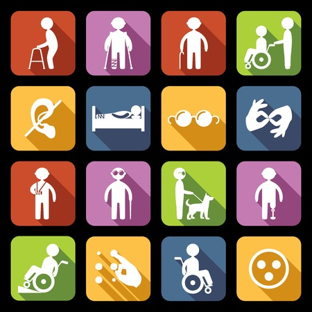 Ilustración de Disabled people help flat icons set isolated vector illustration - Imagen libre de derechos
