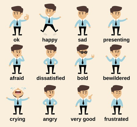 Illustration for Businessman cartoon character emotions set isolated vector illustration - Royalty Free Image