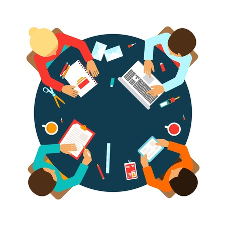 Illustration for Business men team office meeting concept top view people on table vector illustration - Royalty Free Image