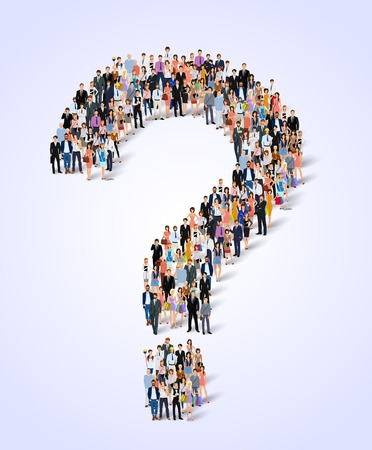 Illustration pour Group of people adult professionals in question mark shape poster vector illustration - image libre de droit