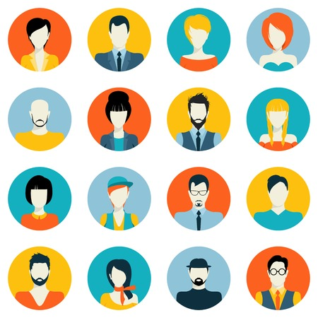 Ilustración de People avatar male and female human faces social network icons set isolated vector illustration - Imagen libre de derechos