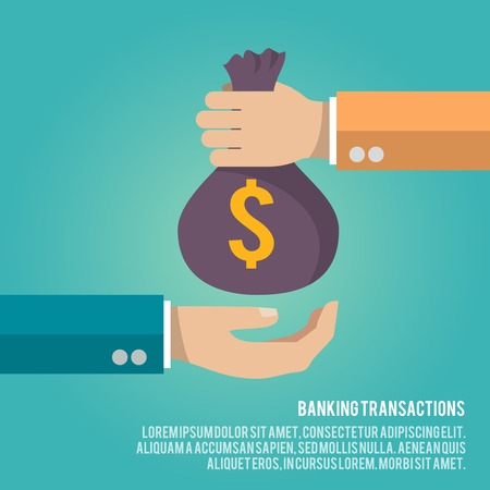 Illustration pour Human hand gives money bag to another person payment banking poster vector illustration - image libre de droit