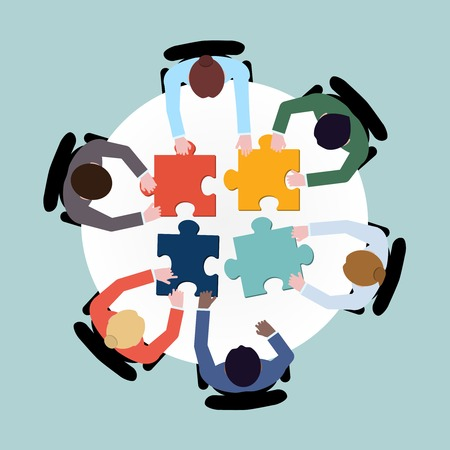 Illustration pour Business team meeting brainstorming concept top view group people on table with puzzle vector illustration - image libre de droit