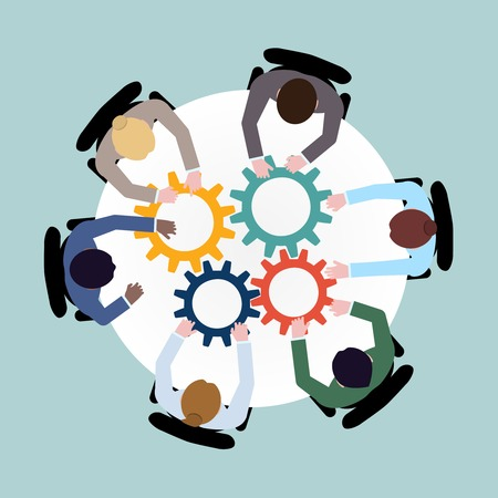 Illustration for Business team meeting cooperation concept top view group people on table with cogwheels vector illustration - Royalty Free Image