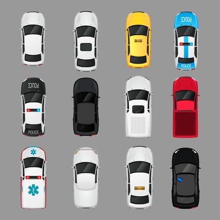 Illustration pour Cars transport top view icons set isolated vector illustration - image libre de droit