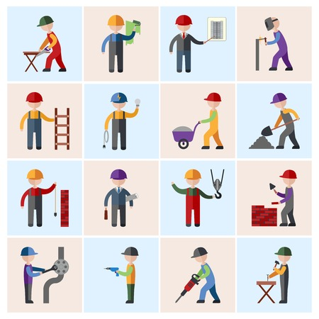 Photo for Construction worker people silhouettes icons flat set isolated vector illustration - Royalty Free Image