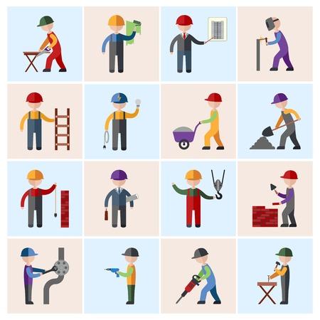 Illustration pour Construction worker people silhouettes icons flat set isolated vector illustration - image libre de droit