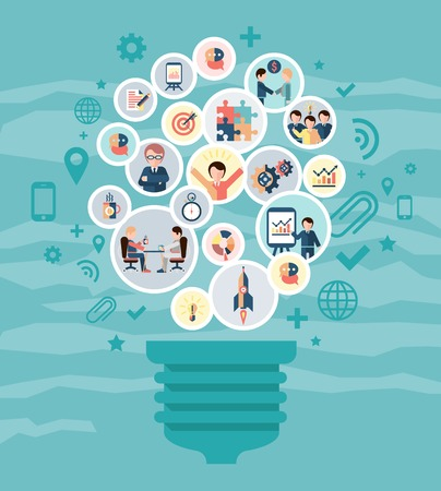 Illustration for Social network concept with idea lightbulb and business people icons vector illustration - Royalty Free Image