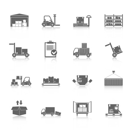 Illustration pour Warehouse distribution and logistics service icons black set isolated vector illustration - image libre de droit