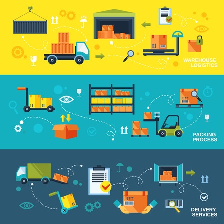 Illustration pour Warehouse flat banners set of logistics packing process delivery services isolated vector illustration - image libre de droit