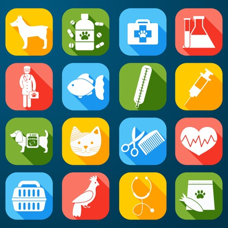 Illustration pour Veterinary pet food and health care  icons set flat isolated illustration - image libre de droit