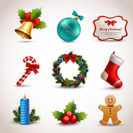 Illustration pour Christmas new year holiday decoration realistic icons set isolated illustration - image libre de droit
