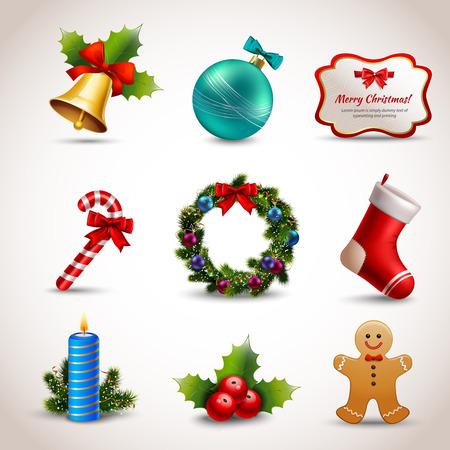 Ilustración de Christmas new year holiday decoration realistic icons set isolated illustration - Imagen libre de derechos