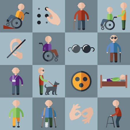 Ilustración de Disabled people care assistance and accessibility icons set isolated illustration - Imagen libre de derechos