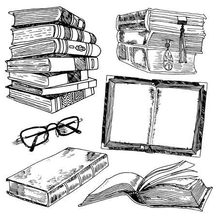 Illustration pour Book and glasses library collection black sketch decorative icons set isolated illustration - image libre de droit
