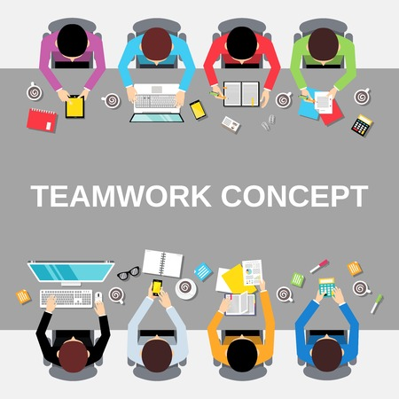 Illustration for Business team teamwork concept top view office people group on long table illustration - Royalty Free Image