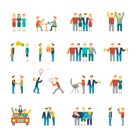 Illustration pour Friends and friendly relationship social team flat icon set isolated illustration - image libre de droit