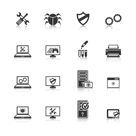 Illustration pour Computer repair and maintain internet security services black icons collection with antivirus shield abstract isolated illustration - image libre de droit