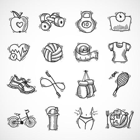 Ilustración de Fitness bodybuilding diet sport exercise sketch decorative icons set isolated illustration - Imagen libre de derechos