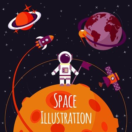Ilustración de Space concept with astronaut on moon and rocket satellites on orbit flat illustration - Imagen libre de derechos