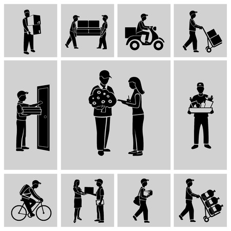 Illustration pour Delivery person courier service postman job icons black set isolated illustration - image libre de droit