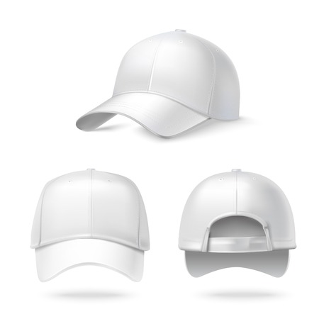 Illustration pour Realistic back front and side view white baseball cap isolated on white background illustration - image libre de droit