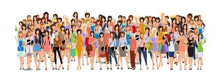 Illustration pour Large group crowd of different age women female professionals businesswomen illustration - image libre de droit