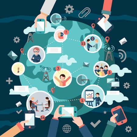 Illustration pour Social media network concept with business people avatars and hands holding mobile devices illustration - image libre de droit