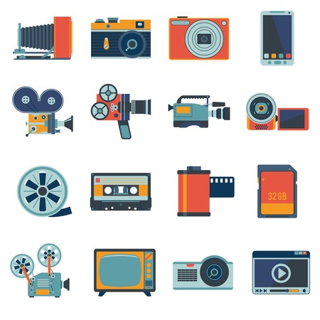 Illustration pour Photo video camera and multimedia equipment flat icons set isolated illustration - image libre de droit