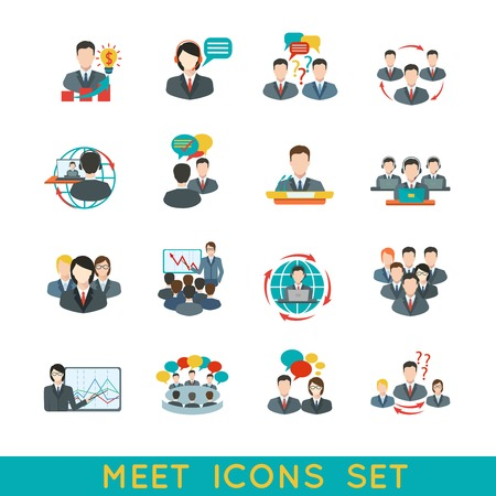 Illustration pour Business meeting flat icons set of partnership planning conference elements isolated illustration. - image libre de droit