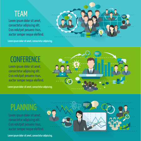 Illustration pour Meeting people horizontal banner set with team planning conference isolated illustration - image libre de droit