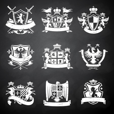 Illustration pour Heraldic victorian knight decorative emblems chalkboard set with flags lions and horses isolated illustration - image libre de droit