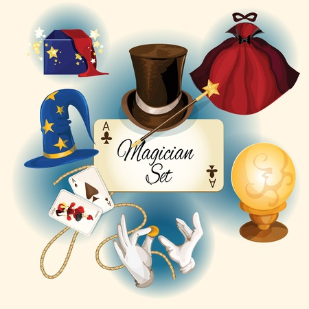 Ilustración de Magician decorative colored icons set with magic hat cards cylinder isolated illustration - Imagen libre de derechos